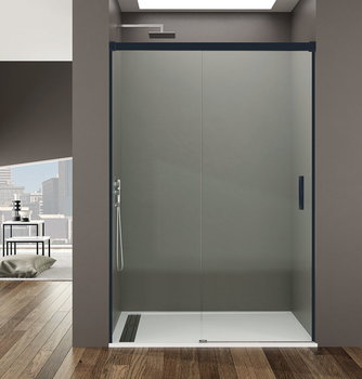 Mampara ducha Basic negro 1 FIjo y 1 Corredera