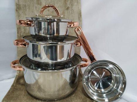 Batería cocina inox con asas de cobre